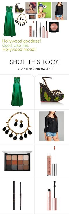 """""""For Scarlett (friend) - Scarlett's ideal wardrobe by me: Hollywood goddess!"""" by sarah-m-smith ❤ liked on Polyvore featuring Charlotte Olympia, Hot from Hollywood, Viseart, Anastasia Beverly Hills, Yves Saint Laurent, Too Faced Cosmetics and NYX"""