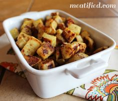 White Sweet Potatoes - 1 white sweet potatoes 1/2 T coconut oil, liquid 1/2 t garlic powder 1/4 t oregano flakes 1/2 t dried rosemary 1 T bacon fat 400F. Toss the sweet potato cubes w oil and seasonings. Spread cubes in a single layer: bake 20 - 25 min, or until a fork can pierce a cube easily but firmly. Remove. In a large skillet, heat your bacon fat (or additional coconut oil) over M-L heat. Add potatoes in single layer & fry for 5 - 8 min, tossing every minute.