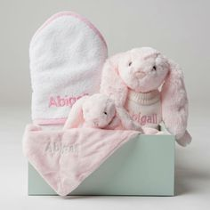 Personalised Bathtime, Bunny and Comforter Snuggle Set - Pink Gingham - Lovingly Signed