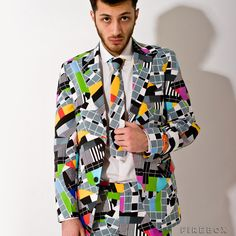 Mental Suits – Test Signal---Perfect for post-production parties;Crafted from pure polyester;Model's brooding stare optional. Pop Art Fashion, Tokyo Fashion, Unique Fashion, Fashion Design, Male Fashion, Test Card, Fancy Dress, Men Casual, Blazer