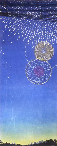 woodblock print of fireworks - Google Search