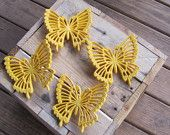 Yellow Butterfly Vintage Plastic Wall Hanging Wall Art Retro Hippie Mod Decor