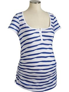 Old Navy Maternity Striped Slub Knit Henleys Shirt
