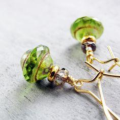 Spring Green Glass Bead Earrings Gold Filled by jFrancesDesign