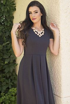"""""""Grace"""" Modest Dress in Charcoal Grey"""