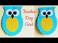 Diy teacher's day card/handmade card making idea/kids project ideas/cute Greeting card/cute card for teachers/Thank you card/paper owl Greetings For Teachers, Teachers Day Card, Teacher Thank You Cards, Easy Crafts For Kids, Cute Crafts, Projects For Kids, Diy For Kids, Project Ideas, Card Making For Kids