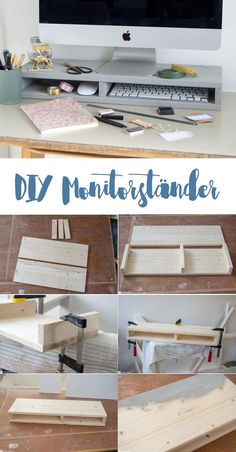 Manual monitor stand Do it yourself - DIY furniture building - more order at work . - - Manual monitor stand Do it yourself – DIY furniture building – more order in the workplace – monitor stand with compartments for keyboard and Co.