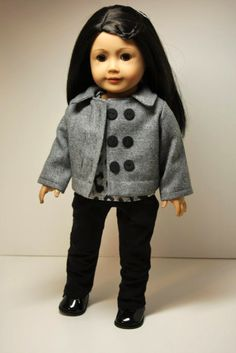 American Girl Doll Clothes-Grey Wool Pea Coat, Top and Skinny Jeans. $42.00, via Etsy.