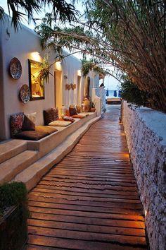 #Psarou #Beach #Nammos #walkway #illuminated #beach #evening #cushions #summer or #winter #retreat