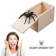 Wooden Prank Spider Scare Box Surprise Joke Horror Funny Prank Toys Halloween - Surprise Box - Ideas of Surprise Box - Wooden Prank Spider Scare Box Surprise Joke Horror Funny Prank Toys Halloween Price :