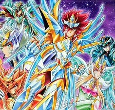 Saint Seiya Omega, Omega Saints. Koga, Yuna, Ryuho, Soma, Eden, Haruto.