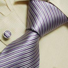 Purple designer mens ties Gray fashion silk neck tie cufflinks set A1160