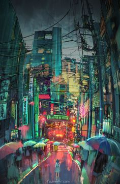 yuumei-art:  -Lost Me-  More paintovers from photos taken in Japan :) The architecture here has a great balance of clutter and negative space thats so great for painting.  ... Kunst / Art / Digital Art / Illustration / Graphic Novel