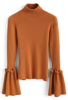 Keep Knit Up Turtleneck Top in Orange - New Arrivals - Retro, Indie and Unique Fashion