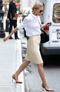 Ashley Olsen - just got a very similar skirt at a thrift store for $5. This look will happen very soon!