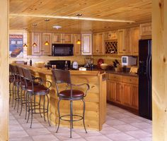 log home kitchen/bar for the basement
