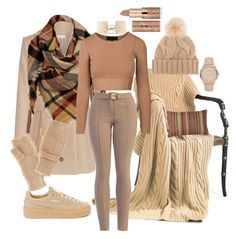 """""""Can do caramel"""" by saint-germain on Polyvore featuring Puma, Loro Piana, Sylvia Alexander, Charlotte Russe, tarte and Burberry"""