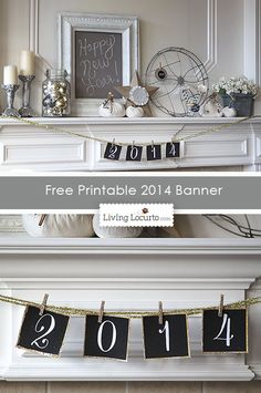 Glittered clothespins for banner. 15 free New Years Eve printables on iheartnaptim.com ... so many fabulous ideas!