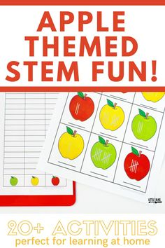Help your kids enjoy learning about science and math with this fun apple themed STEM pack. A great resource for a visit to the apple orchard and for use at school or home.  A great resource for kids who are learning at home, a resource for the elementary classroom, and homeschooling fun. Parents and teachers love these STEM activities that are all about pumpkins.