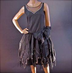 Femme Noir Gatsby Showtime tambour fille Années 1920 Charleston Costume Robe fantaisie
