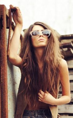 pretty long hair cute sunglasses