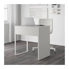 MICKE Desk - white - IKEA    Small desk has drawer and cutout on top for curling iron blow dryer,