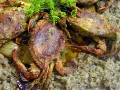 Sauteed Soft Shell Crabs on Wild Rice Risotto