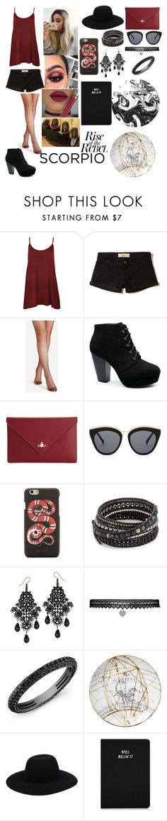 """Scorpio"" by sweetheart-the-moonbear ❤ liked on Polyvore featuring WearAll, Hollister Co., Anastasia Beverly Hills, Vivienne Westwood, Le Specs, Gucci, Chan Luu, Betsey Johnson and Off-White"