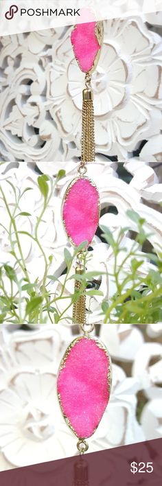 Hot Pink Faux Druzy Necklace Pretty and girly, perfect addition for layering to create a boho feel or wear alone for a simple yet bold pop to your outfit! Jewelry Necklaces