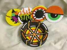 Halloween coasters set with container made out perler beads by Gisele K.. - Perler® | Gallery