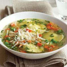 recipes for soup    Herb Ravioli Soup Recipe   MyRecipes.com