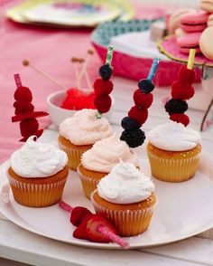 Accessorize with berries for an even sweeter dessert. The Poppytalk for Target collection launches June Cupcake Cookies, Mini Cupcakes, Sweet Desserts, Just Desserts, Master Baker, Summer Birthday, Let Them Eat Cake, Party Planning, Delish