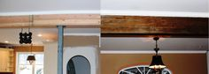 """Distressing """"new"""" wood beam to look old."""