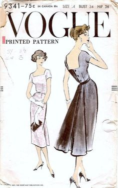 Fabulous Vintage 1957 Vogue Pattern for a Dress, Pattern # 9341. Printed Pattern One Piece Dress The slim skirt has flared back panel with a centre inverted pleat. Skirt joins the bodice at waist-line under self contour belt. Deep, square front and back neckline. Short kimono