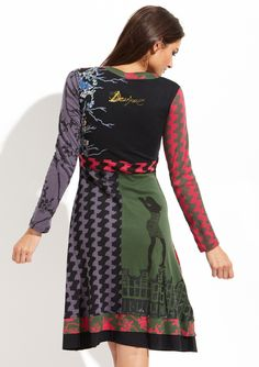 """DESIGUAL  Martinna Dress  $59.99  $114.00      Long sleeve day dress      Curved V-neckline      Features mixed floral prints      Metallic girl graphic outline on front of flared skirting      Two-tone tiered hem with embroidery      Pullover style      Not lined    Material: 100% Cotton  Approx. measurements (size M): sleeve length 23"""", shoulder to hem 41""""  Care: Machine wash cold  Origin: Imported  Fit: This style runs true to size chart"""