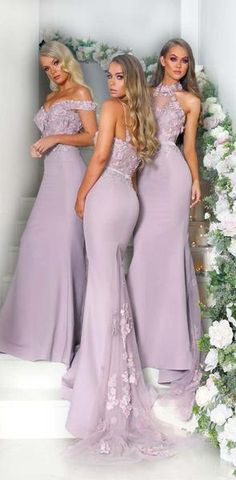 Modern Mermaid Sexy Mixed Styles Custom Made  Formal Long Bridesmaid Dresses, Fashion Prom Dress, WG406 #Mismatched #long #fall #bridesmaiddresses #bridesmaids #wedding #Modestbridesmaiddress #cheapdress #discount
