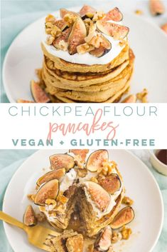 Chickpea Flour Pancakes -- These pancakes are vegan gluten-free oil and refined-sugar free! Top with fresh fruit chopped nuts and maple syrup for the ultimate sweet breakfast of champions Chickpea Flour Pancakes, Fruit Pancakes, No Flour Pancakes, Vegan Pancakes, Waffles, Healthy Vegan Breakfast, Quick Vegetarian Meals, Healthy Brunch, Healthy Treats