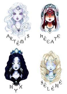 New Fantasy Art Moon Goddess Mythology 64 Ideas Hecate Goddess, Moon Goddess, Greek Goddess Tattoo, Greek Goddess Art, Artemis Goddess, Greek Art, Greek And Roman Mythology, Greek Gods And Goddesses, Greek Goddess Mythology