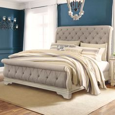 You spend a third of your life in your Bed, shouldn't you love it? Find your dream Bed Frame at an affordable price at Ashley Furniture HomeStore. Bedding Master Bedroom, Bedroom Retreat, Dream Bedroom, Bedroom Sets, Teen Bedding, Bedroom Wardrobe, Gray Bedding, White Bedroom, Bedding Sets