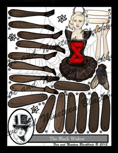 The Black Widow Jointed Paper Doll by FiveAndNineteen on Etsy