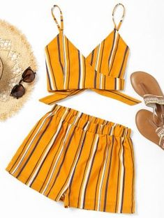 Striped Wrap Cami Top With Shorts - Yellow - Yellow S Cute Summer Outfits, Trendy Outfits, Fashion Outfits, Womens Fashion, Fashion Trends, Disco Outfits, Cute Outfits With Shorts, Beach Outfits, Summer Dresses