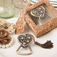Antique copper heart bottle opener from fashioncraft - At Fashioncraft we love to find unique and stunning pieces and this unique bottle opener tugged at our heartstrings! http://www.favorfavor.com/page/FF/PROD/5263