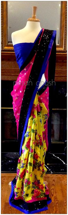Printed silk with georgette palla