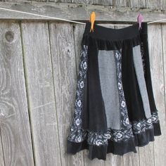 Upcycled Skirt Black Velour Cotton Wool Recycled Skirt Full Skirt Large XL Skirt Gypsy Eco by ThankfulRose on Etsy