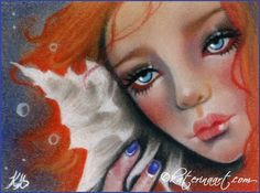 Seashell Beauty ACEO Katerina Art ,Fantasy and Portraiture art by Katerina Art,The beautiful pencil art by Katerina Koukiotis