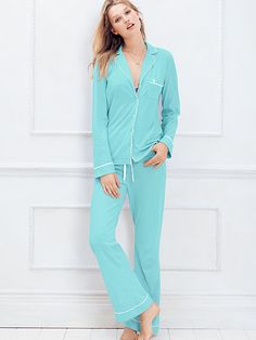 The Sleepover Cotton Pajama in XL regular length in spa blue, timeless pink, heather gray or black