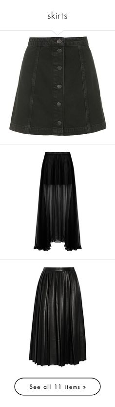 """""""skirts"""" by lily-mcevans on Polyvore featuring skirts, bottoms, black, faldas, topshop, knee length a line skirt, topshop skirt, denim button skirt, button skirt und mini skirts"""