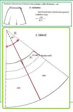 ŠKOLA STŘIHU: SUKNĚ čtyřdílná čtvrtkolová Line Chart, Sewing, Dressmaking, Couture, Fabric Sewing, Stitching, Full Sew In, Costura