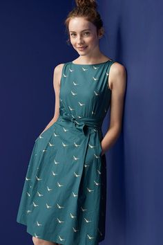 8ae7e592068 L.L.Bean Signature Poplin Dress in a summer-ready Mallard Print. Flattering  fit-