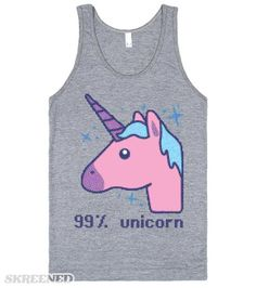 99% Unicorn | Are you 99% unicorn? Thought so! And the other 1% is magic! If you're a fan of retro-fantastic unicorns, this 8 bit style design is for you!  #unicorn